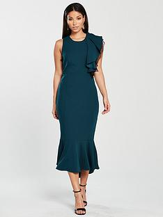 coast-victoria-structured-ruffle-shift-dress-teal