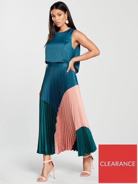 74fc5157d33 COAST Lola Three Tone Pleated Dress - Multi