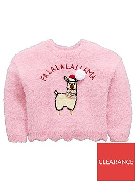 mini-v-by-very-girls-llama-sequin-pom-pom-christmas-jumper