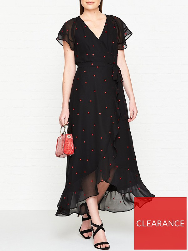 24474967 WHISTLES Heart Embroidered Maxi Dress - Black   very.co.uk