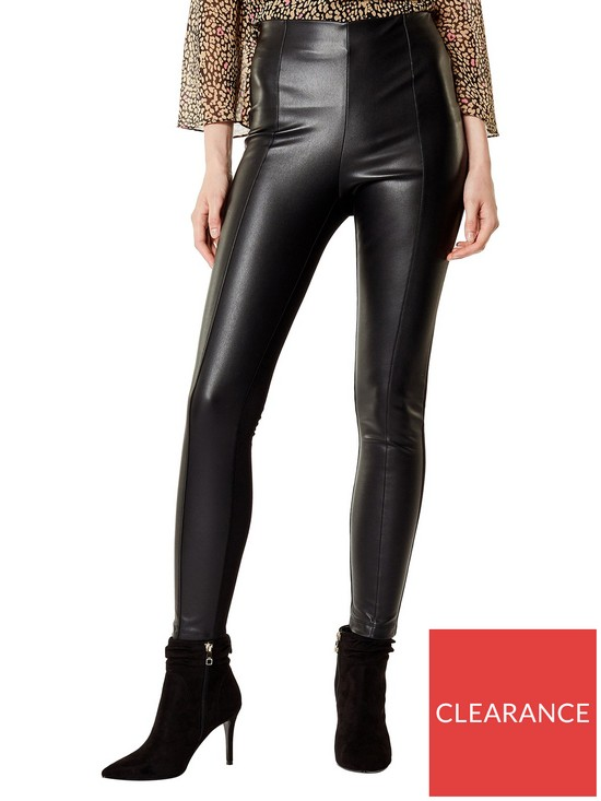 741485291524b KAREN MILLEN Faux Leather Leggings - Black