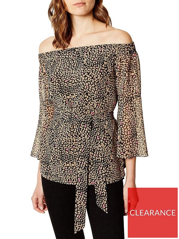 73b4cfeecb1 KAREN MILLEN Off Shoulder Leopard Print Top - Leopard | very.co.uk