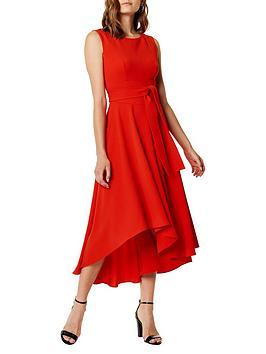 karen-millen-asymmetric-belted-midi-dressnbsp--red