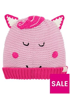 joules-girls-horse-knitted-hat-pink