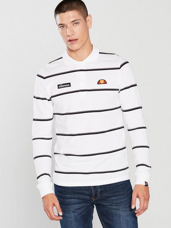 1c3f0ebd5c Maffio Stripe Long Sleeve Polo - White