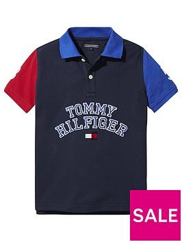 tommy-hilfiger-boys-short-sleeve-colourblock-polo-navy