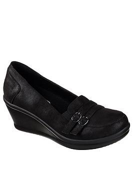 Skechers Rumblers Frilly Wedge Shoe - Black