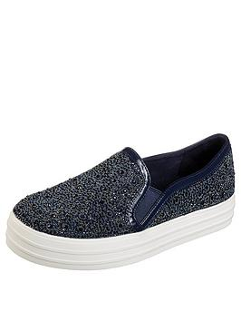 Skechers Double Up Glitzy Gal Plimsoll - Navy