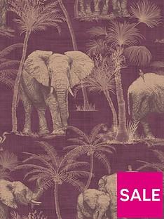 arthouse-elephant-grove-aubergine-wallpaper