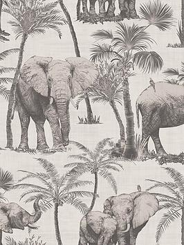 arthouse-elephant-grove-charcoal-wallpaper