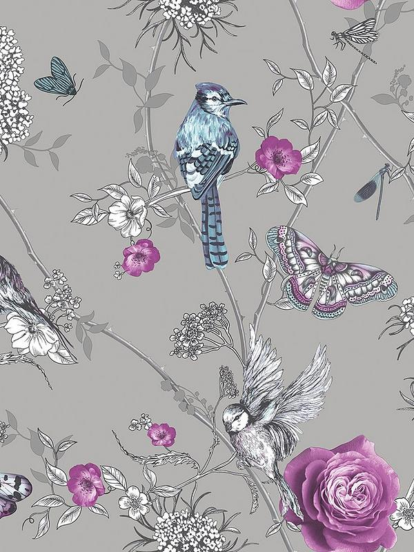 Paradise Garden Silver Wallpaper
