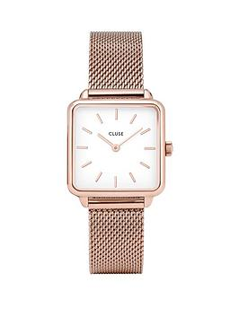 cluse-cluse-la-garconne-white-and-rose-gold-square-dial-rose-gold-mesh-stainless-steel-strap-ladies-watch