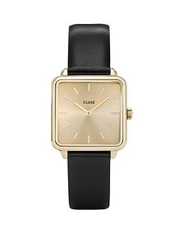 cluse-cluse-la-garconne-gold-square-dial-black-leather-strap-ladies-watch
