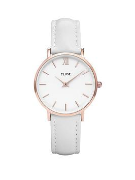 cluse-cluse-minuit-white-and-rose-gold-dial-white-leather-strap-ladies-watch