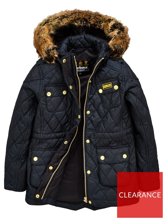 c006af9808f90 Barbour International Girls Enduro Quilt Hooded Coat - Black