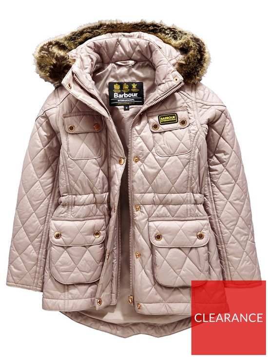 1ae07f0768687 Barbour International Girls Enduro Quilt Hooded Coat - Latte