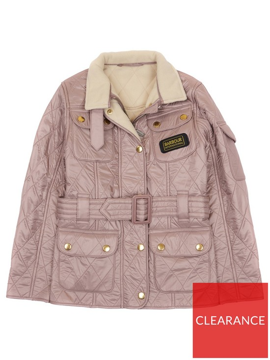8e4b87b20422 Barbour International Girls Quilted Jacket - Latte