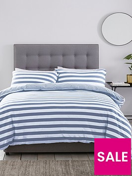 silentnight-jersey-stripe-cotton-duvet-set