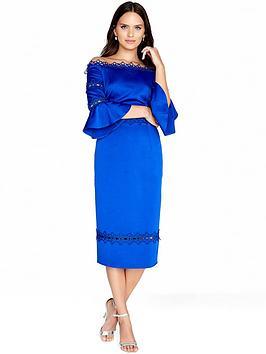 Little Mistress Bardot Flute Sleeve Midi Dress - Cobalt