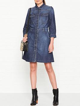 Victoria Denim Long Sleeve Dress  Blue