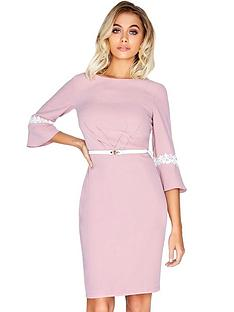 paper-dolls-frill-sleeve-belted-midi-dress-pink