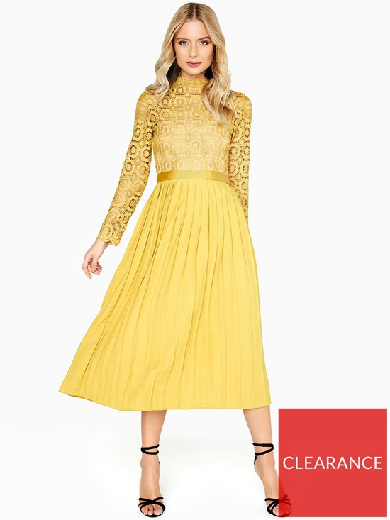 c711b159dd04 Little Mistress Crochet Top Pleated Midi Dress - Mustard