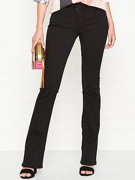 7 for all mankind bair mid rise bootcut jeans - black