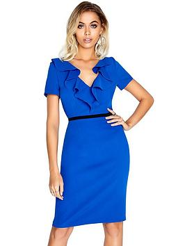 paper-dolls-frill-contrast-waist-dress-cobalt