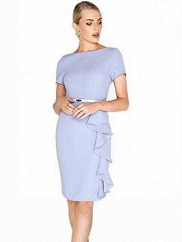 paper-dolls-belted-ruffle-detail-dress-blue
