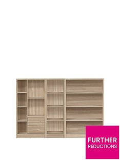 metro-3-piece-storage-bookcase-package-oak-effect