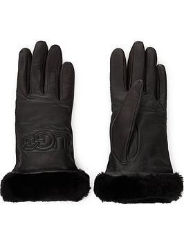 ugg-classic-leather-logo-gloves-black