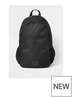 river-island-black-double-zip-compartment-rucksack