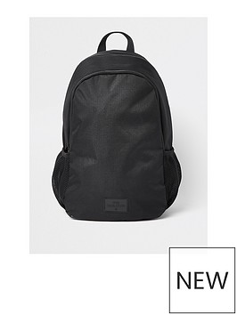 river-island-black-double-zip-compartment-rucksack