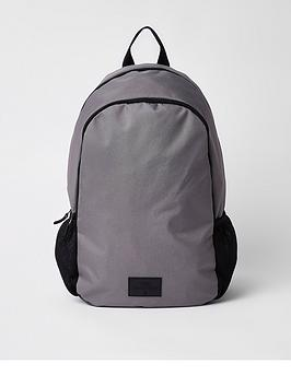 river-island-grey-double-zip-compartment-rucksack