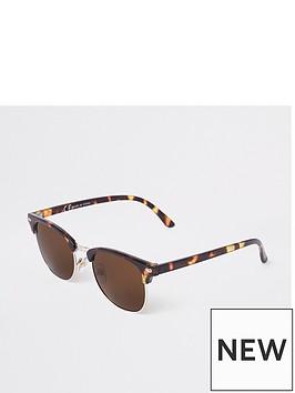 river-island-brown-half-frame-tortoiseshell-sunglasses