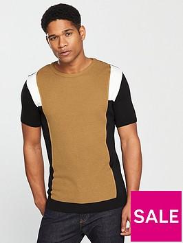 river-island-brown-knit-stripe-slim-fit-t-shirt