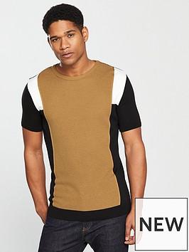 river-island-navy-knit-stripe-sleeve-slim-fit-t-shirt