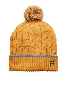 e5863bd044f Lyle   Scott Boys Knit Ribbed Beanie Bobble Hat