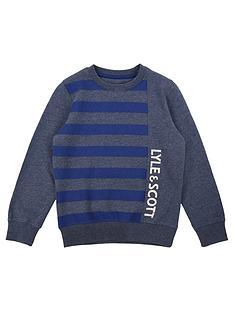 3c199a3cc0fe Lyle   Scott Boys Panel Stripe Print Logo Sweat