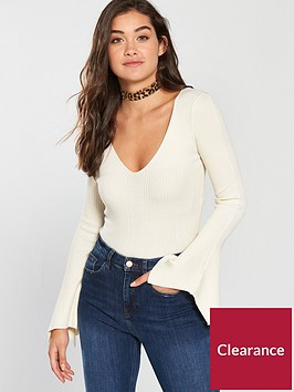 river-island-wide-sleeve-top-cream