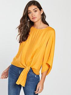 river-island-side-knot-top-orange