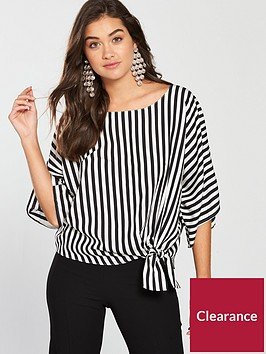 river-island-stripe-side-knot-top-monochromenbsp