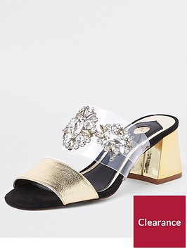 river-island-river-island-embellished-perspex-block-heel-sandals-gold