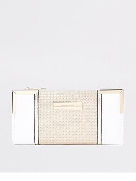river-island-river-island-metal-corner-foldout-purse-cream
