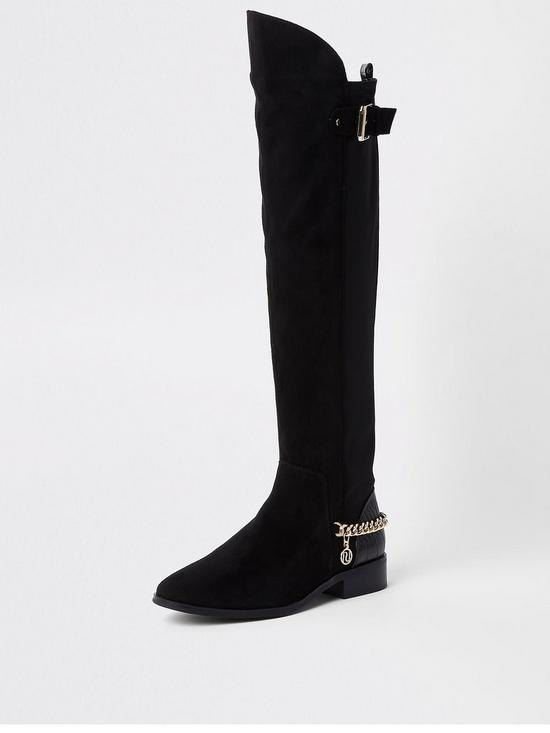 31c64d03e18 River Island River Island Flat Chain Detail Over the Knee Boot - Black