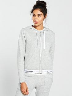 a857856678 Calvin Klein Modern Cotton Lounge Zip Through Hooded Top - Grey