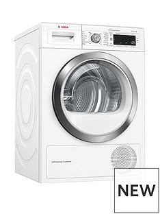 Bosch Serie 8WTW87561GB 9kg Condenser Tumble Dryer with Heat Pump Technology - White