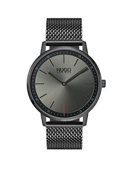 hugo-hugo-exist-grey-2-hand-dial-with-grey-ip-stainless-steel-mesh-bracelet-mens-watch