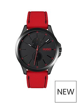 hugo-jump-black-multi-dial-with-red-rubber-strap-mens-watch