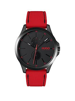 Hugo Jump Black Multi Dial with Red Rubber Strap Mens Watch, One Colour, Men thumbnail